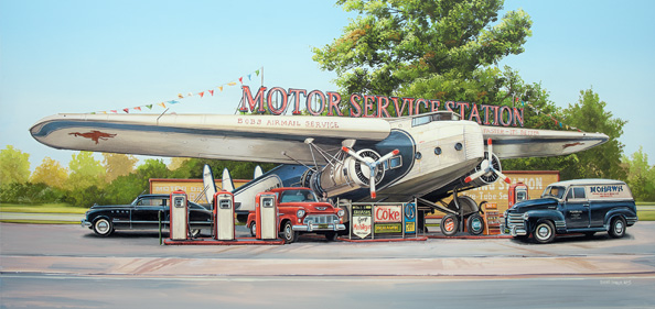 Airplane Station 33 x 70 cm